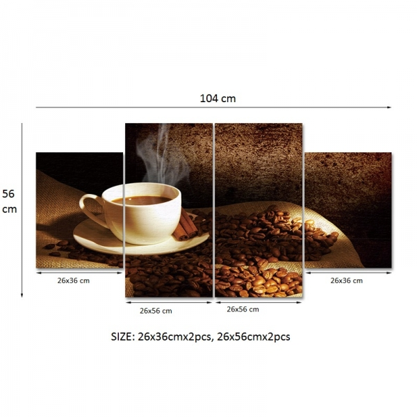 Set Tablouri Canvas - 4 piese - Ceasca si Boabe de Cafea - 104x56 cm