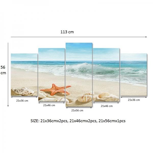 Set Tablouri Canvas - 5 piese - Plaja - 113x56 cm 4