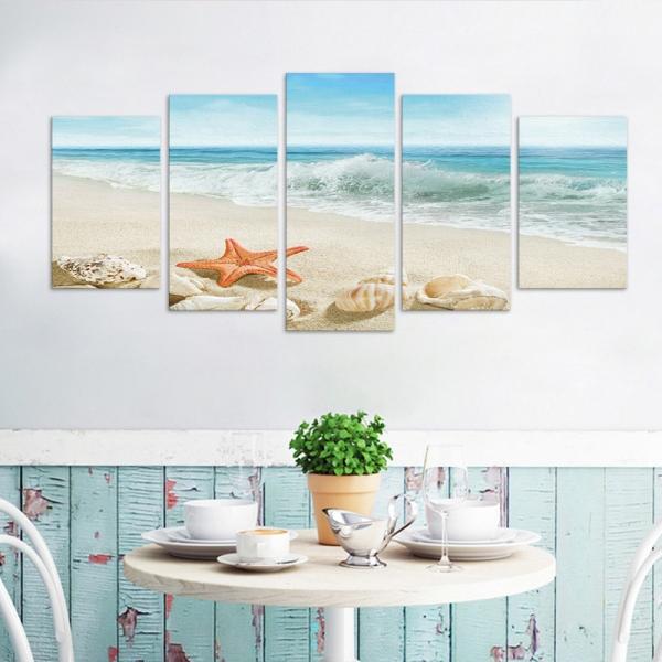 Set Tablouri Canvas - 5 piese - Plaja - 133x60 cm