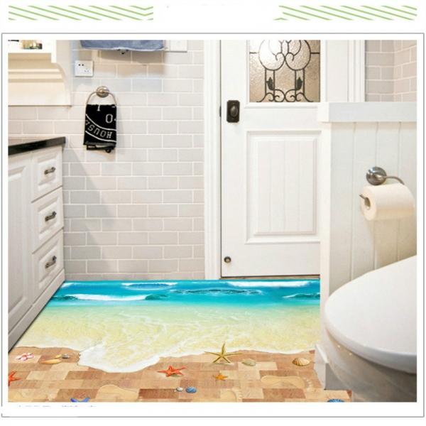 Sticker 3D pentru podea - Plaja cu valuri