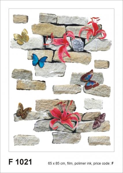 Sticker Zid de Piatra si Flori - Bricks&flowers - 65x85cm - F1021