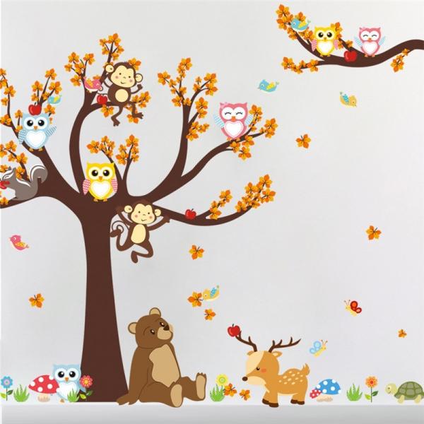 Sticker copii - Copac, frunze de toamna si animale 8