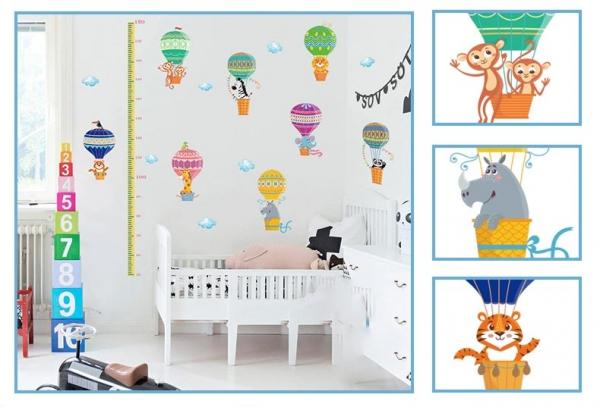 Sticker copii masurator inaltime cu animale in baloane cu aer cald - grafic de crestere