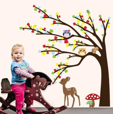 Sticker de perete camera copilului - Caprioara in padure 3
