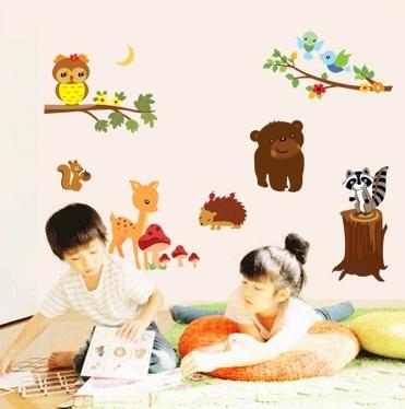 Autocolant de perete camere copii - Animalele padurii 0