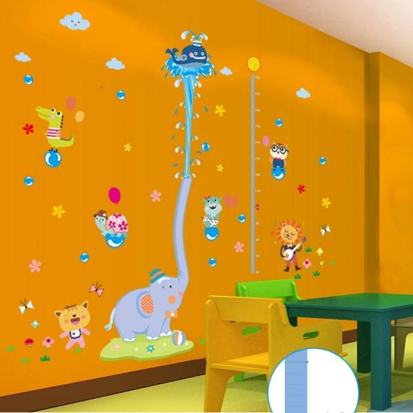Sticker de perete camere copii - Grafic de crestere cu animale- masurator inaltime 2