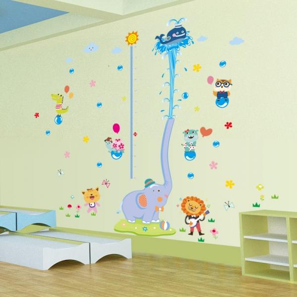 Sticker de perete camere copii - Grafic de crestere cu animale- masurator inaltime 3