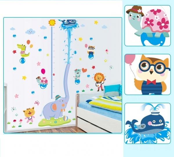 Sticker de perete camere copii - Grafic de crestere cu animale- masurator inaltime 4