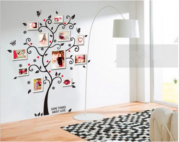Sticker decorativ - Copac cu frunze si inimioare