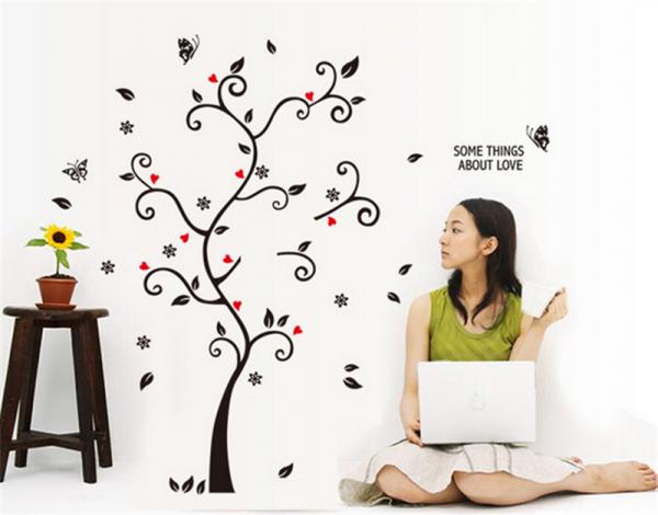 Sticker decorativ - Copac cu frunze si inimioare 4