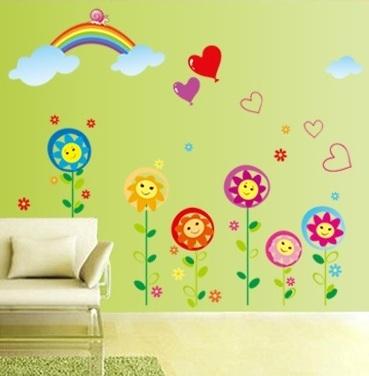 Sticker decorativ copii - Floricele sub curcubeu 4