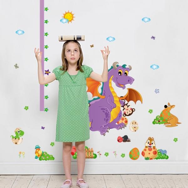 Sticker decorativ copii - Grafic de crestere dragonul prietenos - masurator inaltime 3