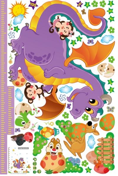 Sticker decorativ copii - Grafic de crestere dragonul prietenos - masurator inaltime 5