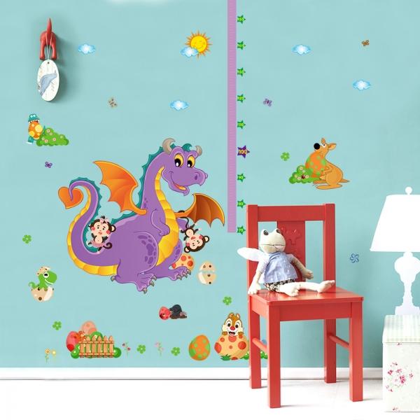 Sticker decorativ copii - Grafic de crestere dragonul prietenos - masurator inaltime