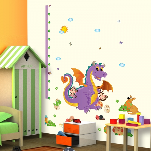 Sticker decorativ copii - Grafic de crestere dragonul prietenos - masurator inaltime 0