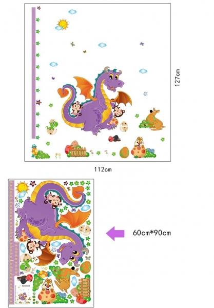 Sticker decorativ copii - Grafic de crestere dragonul prietenos - masurator inaltime 6