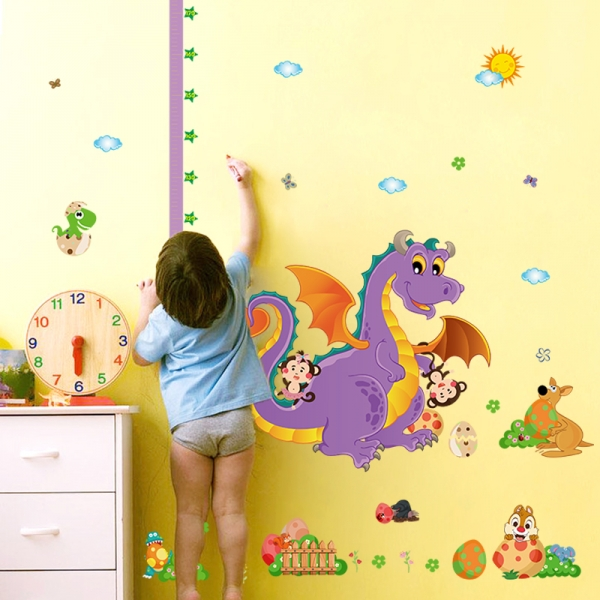 Sticker decorativ copii - Grafic de crestere dragonul prietenos - masurator inaltime 4