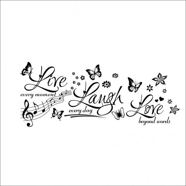 Sticker decorativ motivational - Text, flori, fluturi, muzica