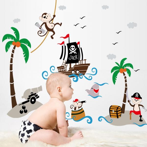 Sticker decorativ pentru baieti - Piratii naufragiati