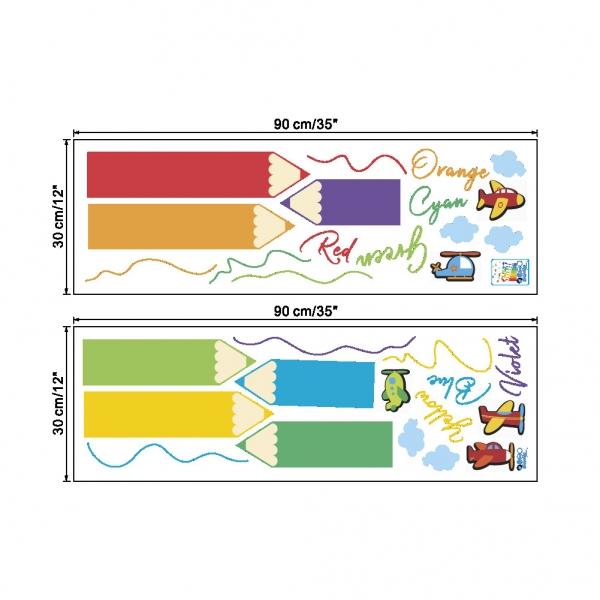 Sticker educativ pentru copii - Invatam culorile - 110x120 cm