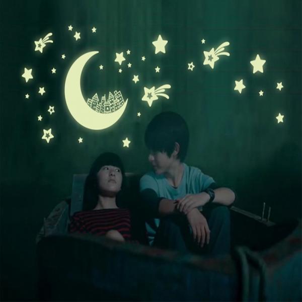 Sticker fosforescent - Luna si stele 0