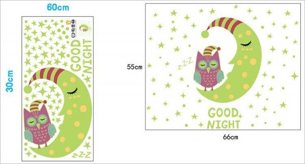 Sticker fosforescent - Luna si bufnita - 66x55 cm