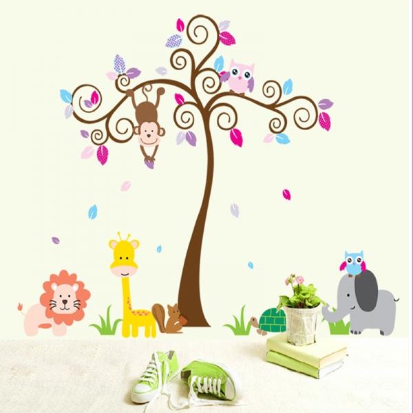 Sticker gigant pentru copii - Copacel si animale din jungla