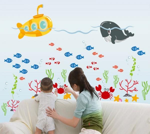 Sticker pentru camere bebelusi - Submarinul galben 1