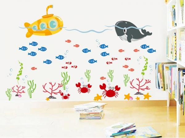 Sticker pentru camere bebelusi - Submarinul galben 2