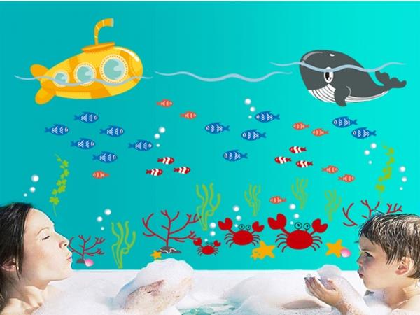 Sticker pentru camere bebelusi - Submarinul galben 3