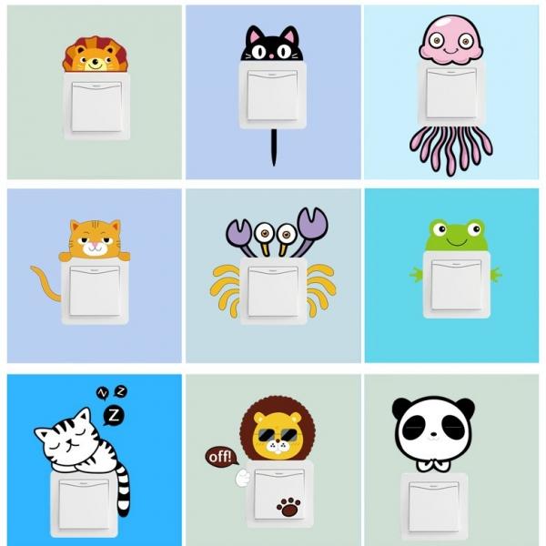 Sticker pentru intrerupator sau priza - Animale diverse