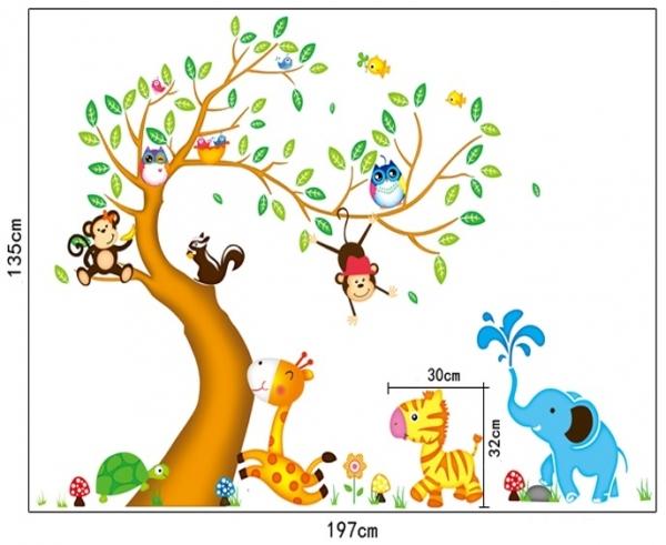 Sticker perete copii - Copac cu elefant stropitor
