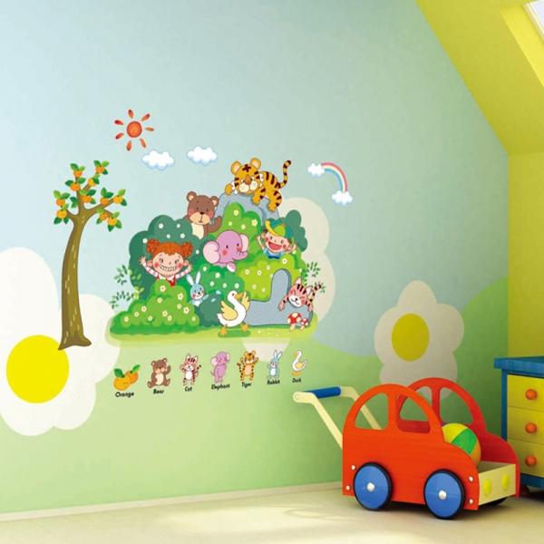 Sticker perete copii - Tufisul verde cu animalute
