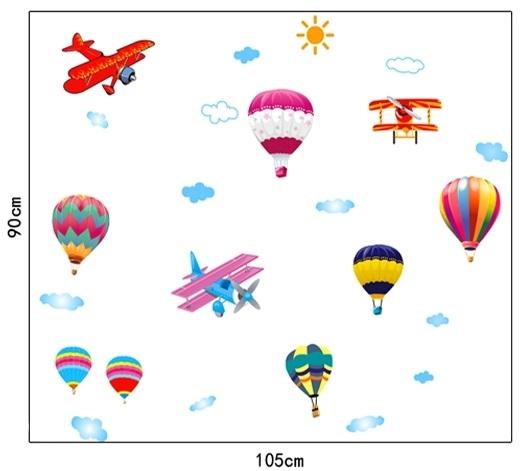 Sticker perete pentru camera copilului - Baloane si avioane 5