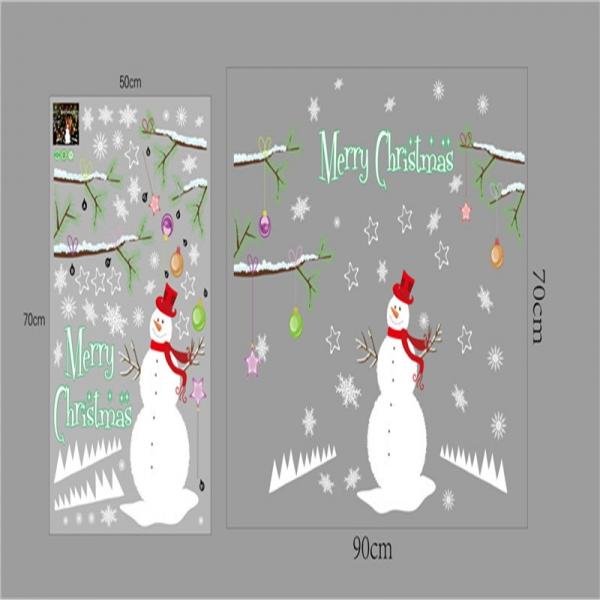 Sticker tematic Craciun - Om de zapada, ramuri cu globuri si fulgi de nea