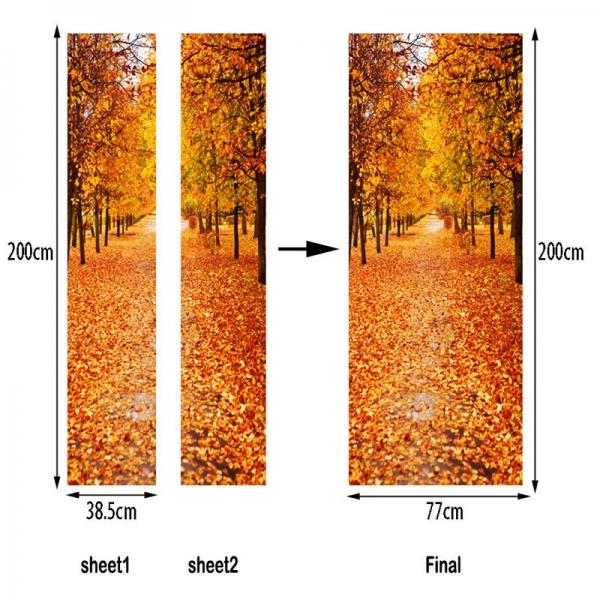 Sticker usa - Priveliste de toamna - 2 folii de 38,5x200 cm