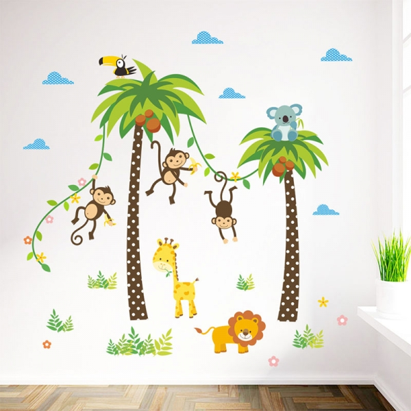Stickere camere bebelusi - Palmieri si animale 1