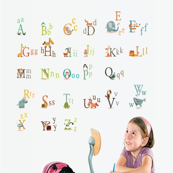 Stickere decorative copii - litere si animale - litere animate  0