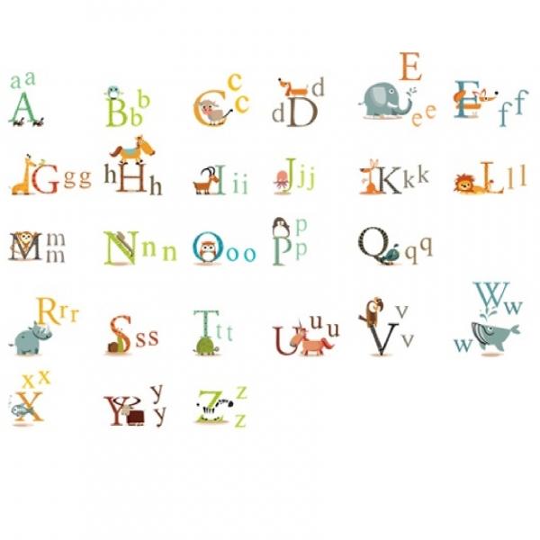 Stickere decorative copii - litere si animale - litere animate  3