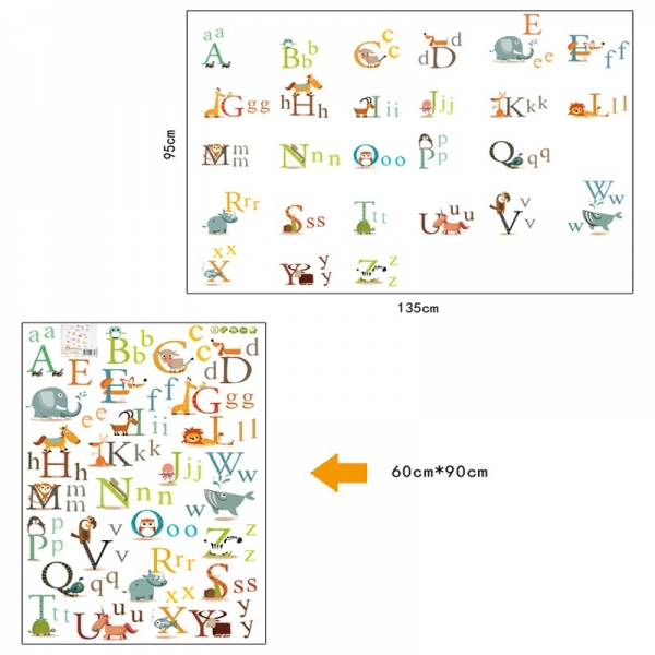 Stickere decorative copii - litere si animale - litere animate  2