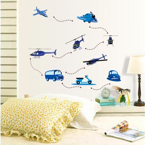 Stickere decorative pentru baieti - Avioane in zbor