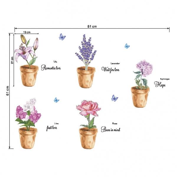 Autocolante decorative - Ghivece cu flori - 81x61 cm