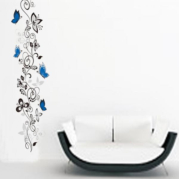 Stickere - Flori si fluturi albastri - 40x120 cm 2