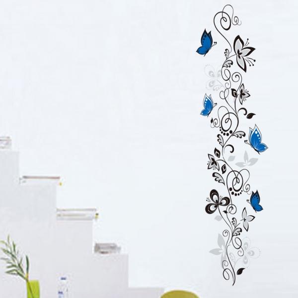 Stickere - Flori si fluturi albastri - 40x120 cm 0
