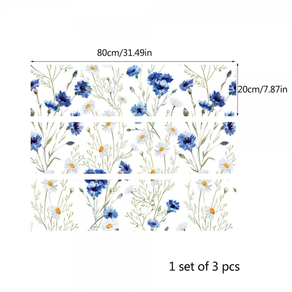 Autocolante pentru mobila - Musetel si albastrele - 20x80 cm x 3 bucati