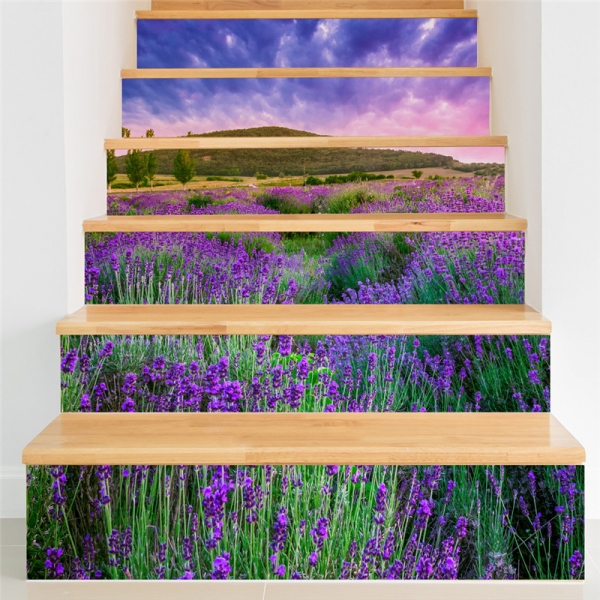 Stickere pentru trepte - Lan de lavanda - 6 folii de 18x100 cm 0