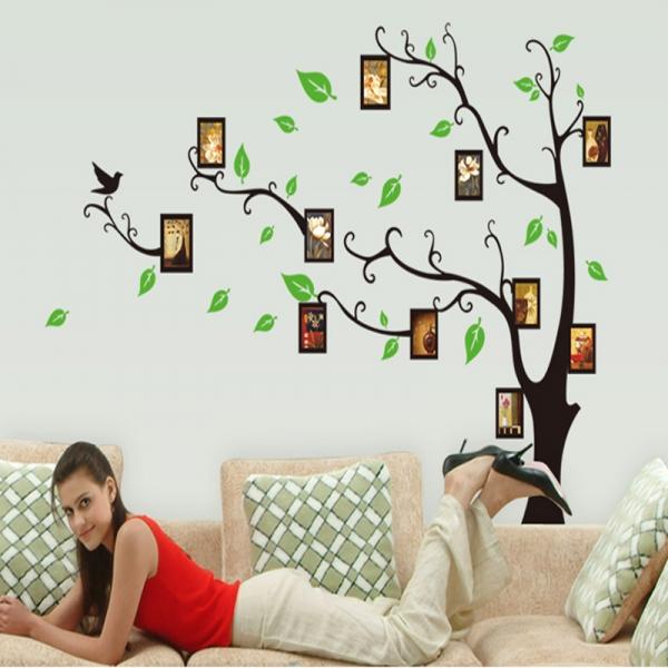 Stickere perete pentru camera de zi - Copac cu rame foto 3