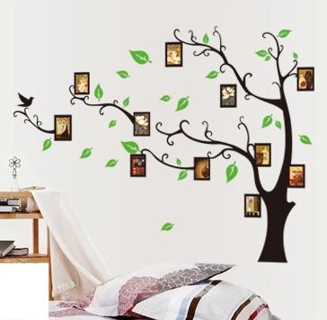 Stickere perete pentru camera de zi - Copac cu rame foto 1
