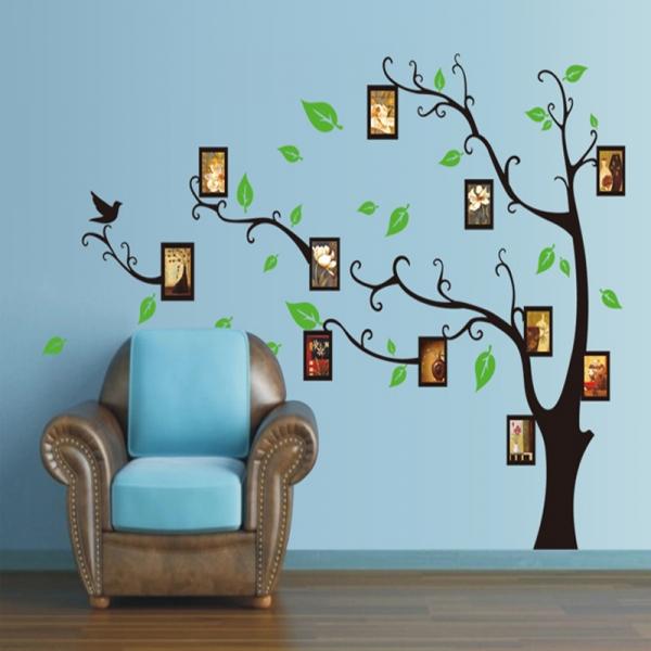 Stickere perete pentru camera de zi - Copac cu rame foto 4