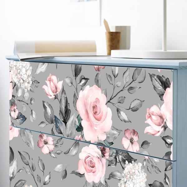 Stickere pentru mobila - Trandafir Roz - 20x80 cm x 3 bucati 6